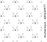 seamless pattern with cute hand ... | Shutterstock .eps vector #685634977