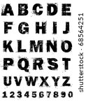 grunge full alphabet and numbers | Shutterstock .eps vector #68564251
