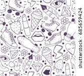 lineart doodles pattern with... | Shutterstock .eps vector #685659424
