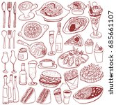 set of food and drinks doodle.   Shutterstock .eps vector #685661107