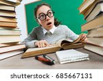thoughtful student looking away ... | Shutterstock . vector #685667131