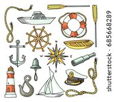 set of colored marine icons... | Shutterstock .eps vector #685668289