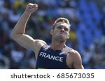 Small photo of Rio de Janeiro, Brazil - august 18, 2016: Runner MAYER Kevin (FRA) during Men's Decathon (110m Hurdles) in the Rio 2016 Olympics Games