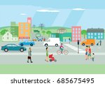 city with people and streets  ... | Shutterstock . vector #685675495