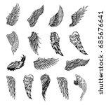 heraldic wings set for tattoo... | Shutterstock .eps vector #685676641