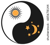 sun and moon in ying yang symbol | Shutterstock .eps vector #685678144