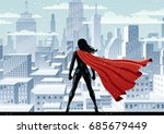 super heroine watching over... | Shutterstock .eps vector #685679449