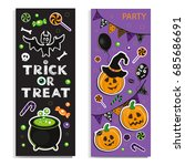template card with halloween... | Shutterstock .eps vector #685686691