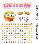 set of realistic cute icons on... | Shutterstock .eps vector #685687321