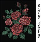 stylized vector roses isolated... | Shutterstock .eps vector #685698415