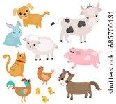 set of farm animals on white... | Shutterstock .eps vector #685700131