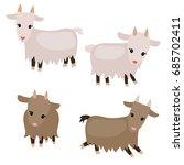 vector set of cute goats on... | Shutterstock .eps vector #685702411
