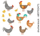 vector set of cute chickens on... | Shutterstock .eps vector #685702471