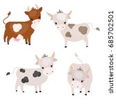 vector set of cute cows on... | Shutterstock .eps vector #685702501