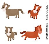 vector set of cute horses on... | Shutterstock .eps vector #685702537