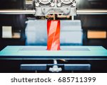 3d printer works and creates an ... | Shutterstock . vector #685711399