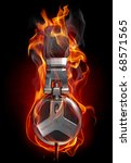 headphones in fire. my own... | Shutterstock . vector #68571565