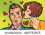 beautiful woman kissing a man ... | Shutterstock .eps vector #685732825