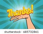 thanks word. women open palm... | Shutterstock .eps vector #685732861