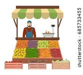 seller of vegetables and fruits ...   Shutterstock . vector #685733455