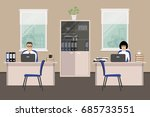 web banner of two office...   Shutterstock . vector #685733551