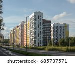 new modern low rise apartment... | Shutterstock . vector #685737571