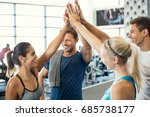 smiling men and women doing... | Shutterstock . vector #685738177