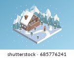 ski resort winter hotel... | Shutterstock .eps vector #685776241