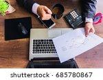 businessman analyzing... | Shutterstock . vector #685780867