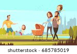 young family with toddler and... | Shutterstock .eps vector #685785019