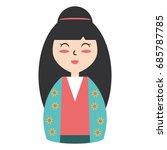 cute woman japanese cartoon   Shutterstock .eps vector #685787785