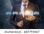 the businessman selects a car... | Shutterstock . vector #685793467