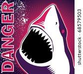 Designed banner with dangerous shark. Vector illustration. - stock vector