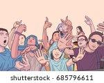 illustration of mixed ethnic... | Shutterstock .eps vector #685796611