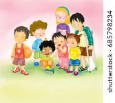 cartoon group of kids together | Shutterstock . vector #685798234