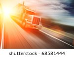 Truck On Freeway At Sunset....