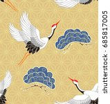 seamless pattern with flying... | Shutterstock .eps vector #685817005