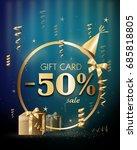 golden blue gift voucher with... | Shutterstock . vector #685818805