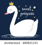 Stock vector sweet princess swan illustration vector 685821151