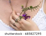 the girl's hand with rings... | Shutterstock . vector #685827295