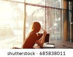 work hard business woman... | Shutterstock . vector #685838011