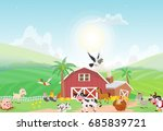 illustration of farm animal... | Shutterstock .eps vector #685839721