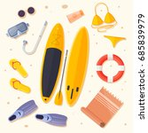 set of items for holiday by sea ... | Shutterstock .eps vector #685839979