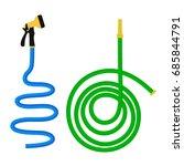 garden hose isolated on white... | Shutterstock .eps vector #685844791