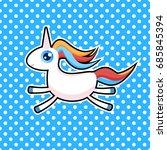cute unicorn pop art vector... | Shutterstock .eps vector #685845394