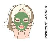girl wearing clay mask vector | Shutterstock .eps vector #685852201