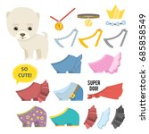 collection of dog  accessories... | Shutterstock .eps vector #685858549