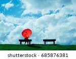 a women sitting on a chair and... | Shutterstock . vector #685876381
