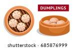 dumplings. chinese national... | Shutterstock .eps vector #685876999
