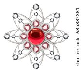 brooch with ruby icon. cartoon... | Shutterstock .eps vector #685882381